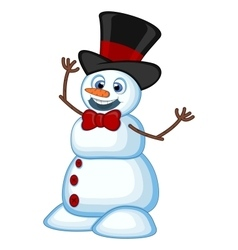Snowman wearing a hat and a bow ties for your desi vector