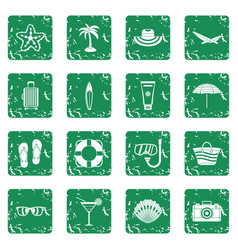 Summer rest icons set grunge vector