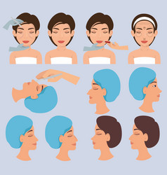 Surgeon hands and woman plastic surgery icons vector