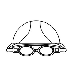 Swimming cap and glasses vector