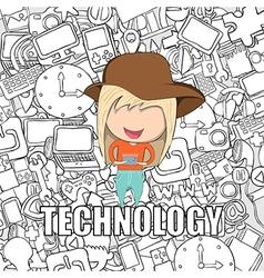 Teenage girl wearing hat playing vector