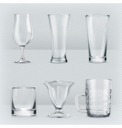 Transparent glasses goblets vector