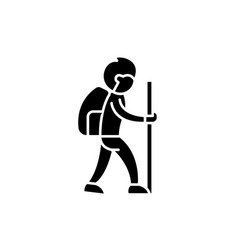 traveler black icon sign on isolated vector image