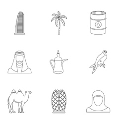 UAE country icons set outline style vector