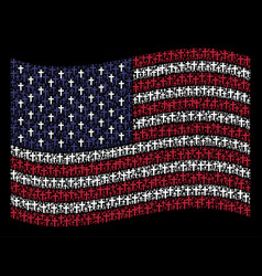 waving american flag stylization of religious vector image