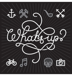 Whats up hipster Icons vector image