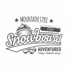 Winter snowboard sports label t-shirt Vintage vector