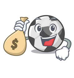 With money bag soccer ball in cartoon shape vector