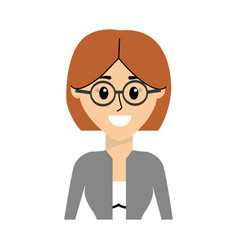 Woman with elegant blouse wearing glasses vector