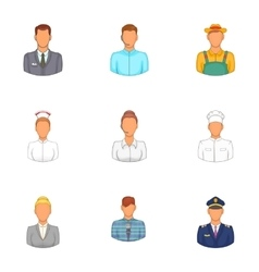Workers icons set cartoon style vector image