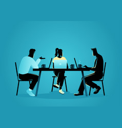 young people in casual wear working at a coffee vector image