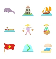 Attractions of Vietnam icons set cartoon style vector image vector image