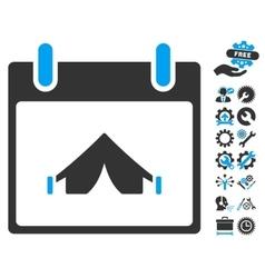 Camping Calendar Day Icon With Bonus vector image vector image