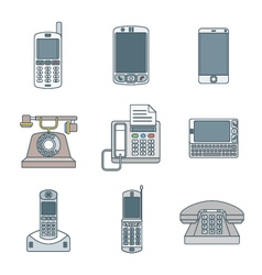 colored outline various phone devices icons set vector image