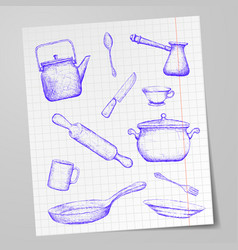 Kitchen utensils drawn on a sheet of paper doodle vector
