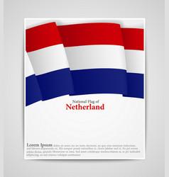 national flag brochure of netherland vector image