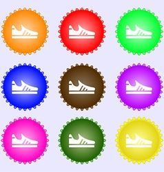 Running shoe icon sign Big set of colorful diverse vector image