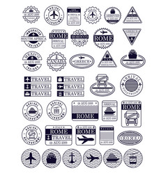 travel stamps set in dark blue silhouette vector image