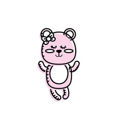 Cute bear girl wild animal character vector
