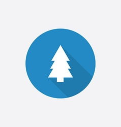 fir-tree Flat Blue Simple Icon with long shadow vector image vector image