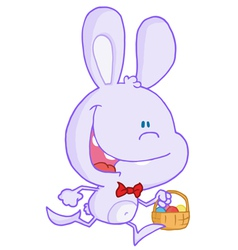 Happy Pale Purple Bunny Running With Easter Eggs vector image