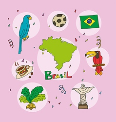 set of national profile of the brasil vector image