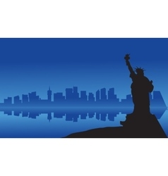 Silhouette of statue liberty from sea vector image vector image