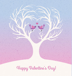 valentines day card with 2 lovebirds vector image vector image
