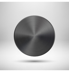 Black Abstract Circle Button with Metal Texture vector image vector image