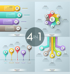 bundle of 4 infographic design templates vector image vector image