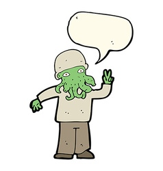 cartoon cool alien with speech bubble vector image