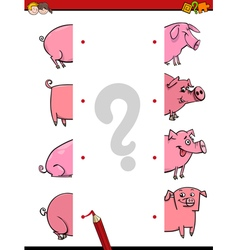 educational game of joining halves vector image