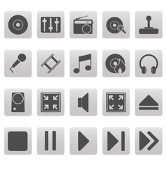 Grey media icons on gray squares vector image