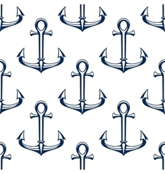 Seamless marine pattern with blue ship anchors vector image vector image