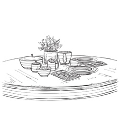 Table setting set Weekend breakfast or dinner vector image vector image
