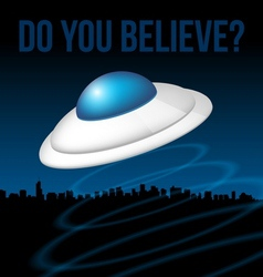 Ufo above city vector image vector image