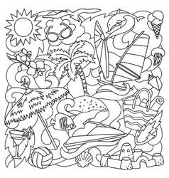doodle summer beach vector image vector image