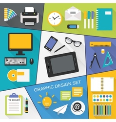 Graphic design flat set vector image