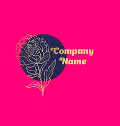hand drawn peony flower logo vector image