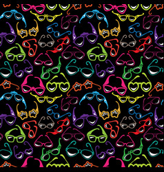 seamless pattern with colorful sunglasses icon vector image vector image