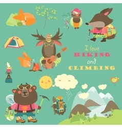 Set of cartoon characters and mountaineering vector image vector image