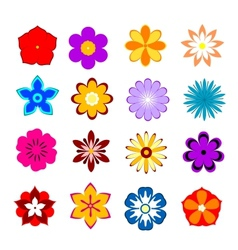 Set of flower blossoms and petals vector image