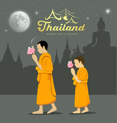 thai monks and novice in buddhist light waving rit vector image
