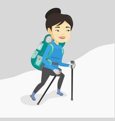 young mountaneer climbing a snowy ridge vector image