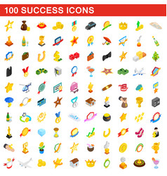 100 success icons set isometric 3d style vector image