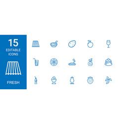15 fresh icons vector image