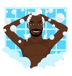 african american smiling man washing his hair vector image