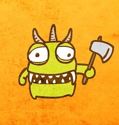 Alien with axe cartoon vector