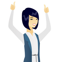 asian business woman standing with raised arms up vector image