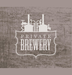 Banner with a private brewery logo in retro style vector
